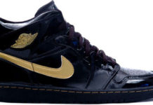 Air Jordan 1 patent leather black / gold authentic