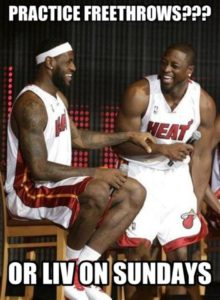 Lebron James and Dwayne Wade discuss practicing free throws or attending liv on sundays during the Miami Heat Pep Rally after singing the big 3 - Bosh, Wade and James in Free Agency.