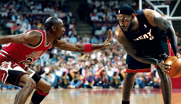 Michael Jordan the Goat guarding Lebron James