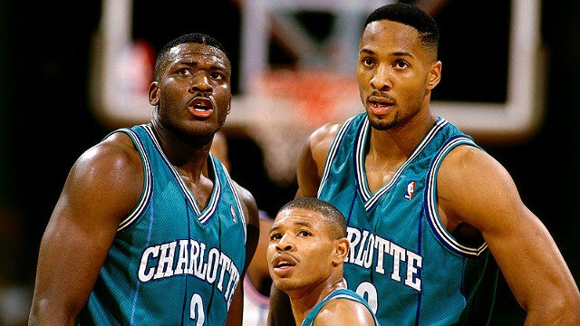 90's nba basketball charlotte hornets - mugsy zo and LJ